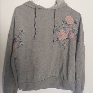 H & M Gray Embroidered Hoodie